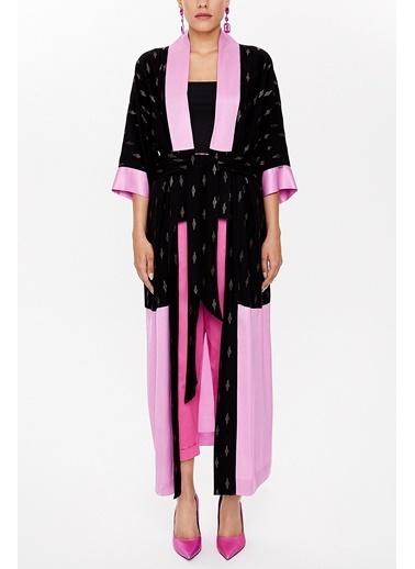 Societa Kontrast Renkli Uzun Kimono 92780 Siyah